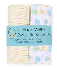 Spasilk Printed Swaddle Blankets Pack Of 2 - White & Yellow