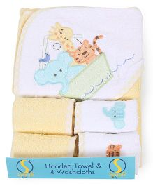 Spasilk Animal Printed Hooded Towel & Wash Cloths - Yellow