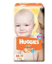 Huggies New Dry Diapers Medium - 32 Pieces