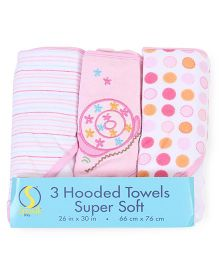 Spasilk Pack Of 3 Printed Hooded Towel - Multicolour