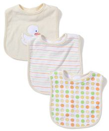 Spasilk Duck Print Pack Of 3 Bibs - Yellow