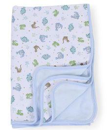 Spasilk Animal Printed 2 Ply Blanket - Blue