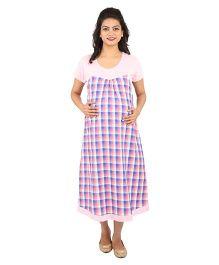 MomToBe Half Sleeves Maternity Dress Checks - Pink