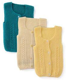 Babyhug Sleeveless Sweaters Pack Of 3 - Green Off White Yellow