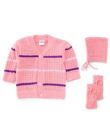 Babyhug Full Sleeves Sweater With Cap And Booties Set - Pink