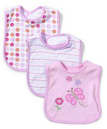 Spasilk Butterfly Print Pack Of 3 Bibs - Pink