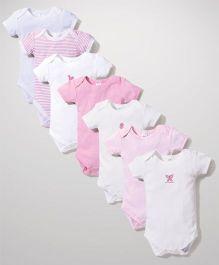 Spasilk Multi Print Pack Of 7 Onesies - White & Pink