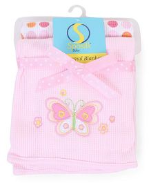 Spasilk Butterfly Printed Pack Of 2 Blanket - Pink