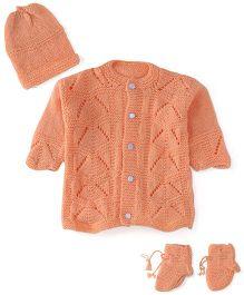 Babyhug Full Sleeves Sweater Cap And Booties Set - Peach