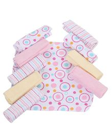 Spasilk Printed Pack Of 10 Wash Cloths - Multicolour
