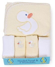 Spasilk Duck Print Hooded Towel & Wash Cloths - Yellow