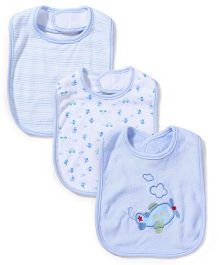 Spasilk Interlock Multi Print Pack Of 3 Bib - Blue