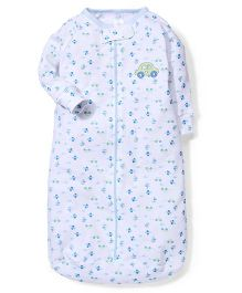 Spasilk Car Print Sleeping Bag  - White & Blue