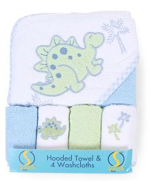 Spasilk Dino Print Hooded Towel With 4 Washcloth - Blue & Green