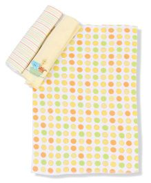 Spasilk Animal Print Pack Of 3 Burp Cloth - Yellow
