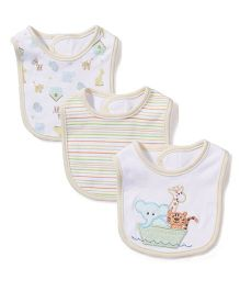 Spasilk Interlock Multi Print Pack Of 3 Bib - White &  Yellow