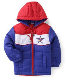 Babyhug Full Sleeves Hooded Jacket Embroidery On Chest - Royal Blue & Red