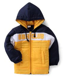 Babyhug Full Sleeves Hooded Jacket Embroidery On Chest - Navy Blue & Yellow