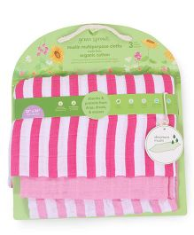 Green Sprouts Muslin Multi-Purpose Cloths Set Of 3 - Pink & White