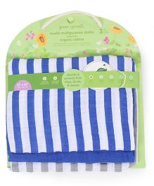 Green Sprouts Muslin Multi-Purpose Cloths Set Of 3 - Blue & White