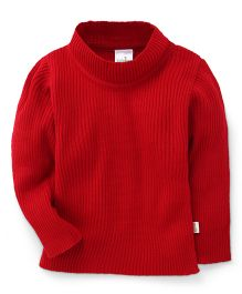 Babyhug Full Sleeves High Neck Sweater - Red