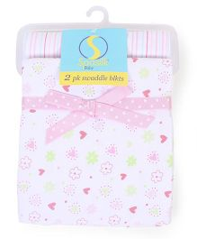 Spasilk Pack Of 2 Swaddle Blanket With Heart Print - White & Pink