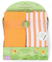 Green Sprouts Pack Of 2 Muslin Swaddle Blankets - Orange & White