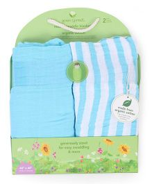 Green Sprouts Pack Of 2 Muslin Swaddle Blankets - Blue & White