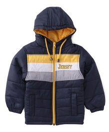 Babyhug Full Sleeves Solid Hooded Jacket - Navy Blue