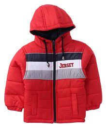 Babyhug Full Sleeves Solid Hooded Jacket - Red