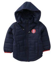 Babyhug Full Sleeves Detachable Hood Jacket - Navy Blue