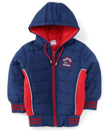 Babyhug Full Sleeves Hooded Jacket - Blue And Red
