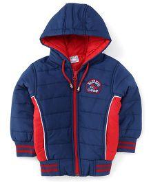 Babyhug Full Sleeves Hooded Jacket - Blue And Red