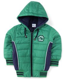 Babyhug Full Sleeves Hooded Jacket - Green And Blue