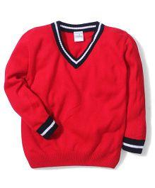 Babyhug Plain Solid Color Contrast V Neck Sweater - Red
