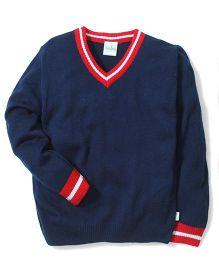 Babyhug Plain Solid Color Contrast V Neck Sweater - Navy