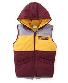 Babyhug Sleeveless Hooded Jacket Badge Detail On Chest - Brown & Yellow