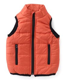 Babyhug Sleeveless Jacket With Contrast Color Border - Orange