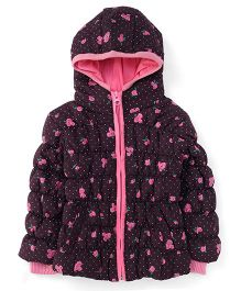 Babyhug Full Sleeves Hooded Jacket All Over Print - Coffee Brown