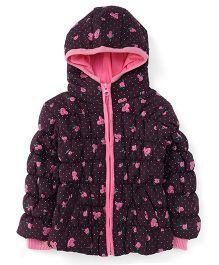 Babyhug Full Sleeves Hooded Jacket All Over Print - Coffee Brown