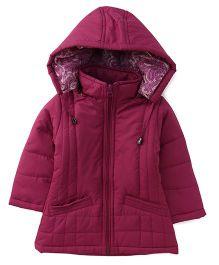 Babyhug Full Sleeves Jacket With Detachable Hood - Fuchsia Pink