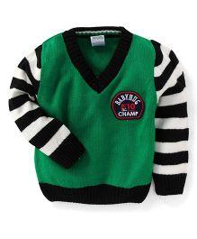Babyhug Full Sleeves Sweater Champ Print - Green Black
