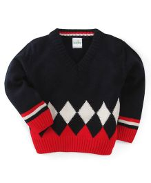 Babyhug Full Sleeves Sweater Diamonds Design - Red Navy White