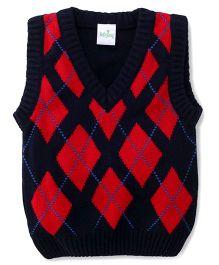 Babyhug Sleeveless Sweater Argyle Pattern - Red and Navy