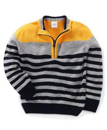 Babyhug Full Sleeves Sweater With Stripes - Yellow Grey Black