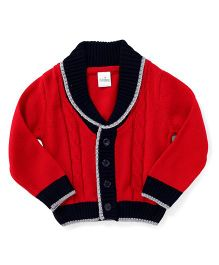Babyhug Full Sleeves Sweater - Red Navy
