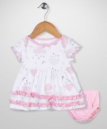 Sterling Baby Star Print Dress With Bloomer - White & Pink