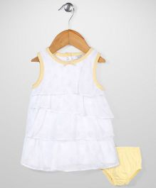 Sterling Baby Flower Print Dress With Bloomer Set - White & Yellow