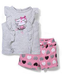 Vitamins Baby Cartoon & Heart Print Top & Shorts Set - Grey & Pink