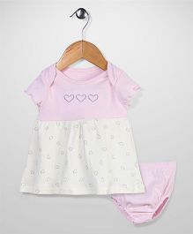 Sterling Baby Heart Print Dress With Bloomer - Pink